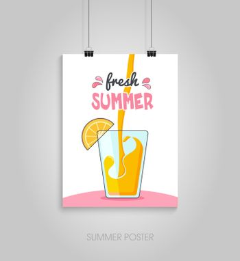 Summer flyer card with cocktail and lemon slice. Fresh summer. Journal cards. Vector illustrations for t-shirt, poster prints. Holiday, travel, vacation theme
