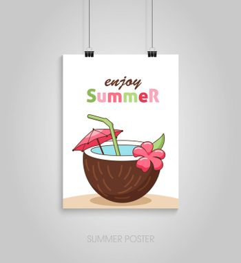 Summer flyer card with coconut beach tropical cocktail with straw. Enjoy summer. Journal cards. Vector illustrations for t-shirt, poster prints. Holiday, travel, vacation theme