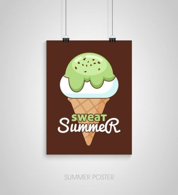Summer flyer card with ice cream. Sweat summer. Journal cards. Vector illustrations for t-shirt, poster prints. Holiday, travel, vacation theme