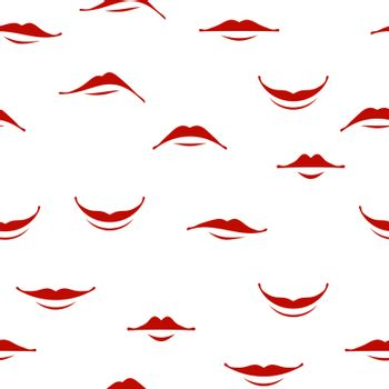Cartoon Smile Lips Seamless Pattern Isolated on White Background. Set of Red Female Mouth. Lips Collection. Different Facial Expression. Human Sense for Taste. Dental Care