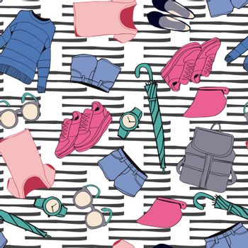 Vector hand drawn background with set of summer outfit collection. Summer style fashion clothes and accessories stylized doodles on doodle background
