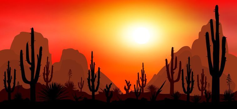Sunset in the desert. Silhouettes of stones, cacti and plants. Desert landscape with cacti. The stony desert.