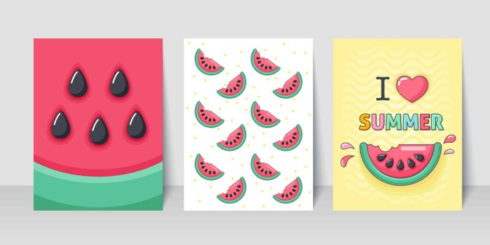 Summer flyer card with slice watermelon. I love summer. Journal cards. Vector illustrations for t-shirt, poster prints. Holiday, travel, vacation theme