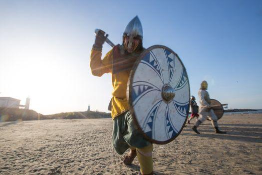 Slavic warrior attacks