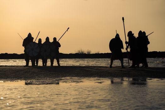 Slavic warriors reeanctors fight