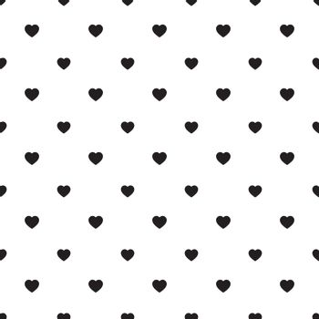 Simple heart shape seamless pattern in diagonal arrangement. Love and romantic theme background. Black and white vector wallpaper.