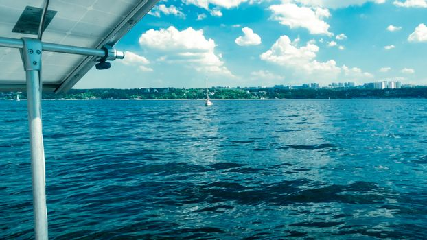 river or lake summer Sunny day, view from the yacht