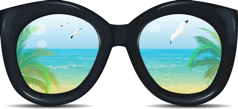 Summer sunglasses with a reflection of a tropical beach, palm trees, sea, seagulls. Glasses on a white background.