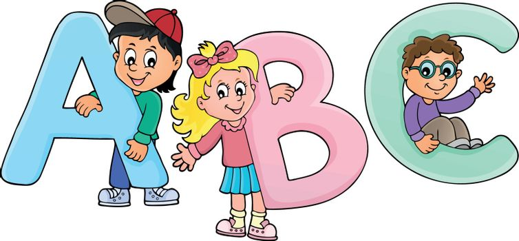 Children with letters ABC theme 2 - eps10 vector illustration.