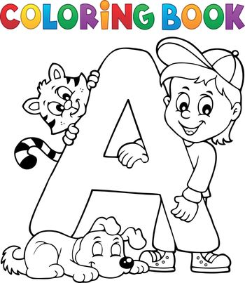 Coloring book boy and pets by letter A - eps10 vector illustration.