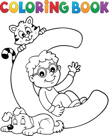 Coloring book boy and pets by letter C - eps10 vector illustration.