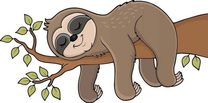Sleeping sloth theme image 1 - eps10 vector illustration.