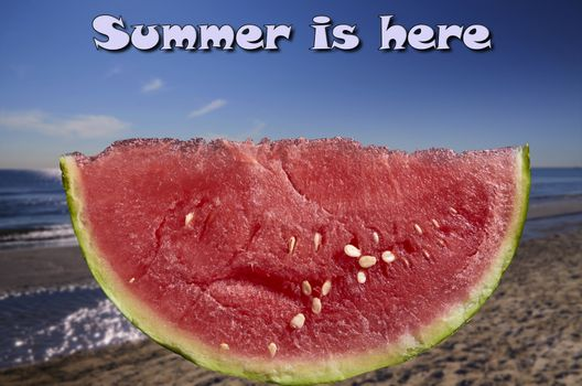 Image slice of watermelon beach background