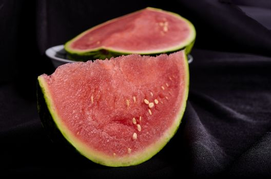 Image slice of watermelon black background