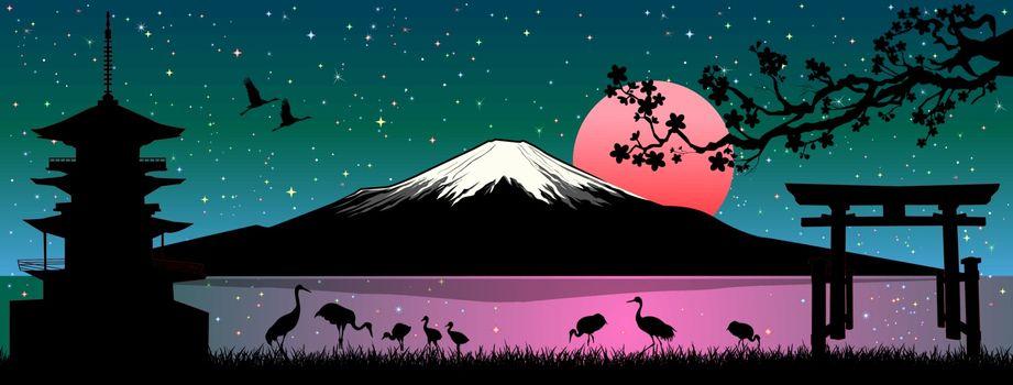 Cartoon Japanese landscape. Mount Fuji. Sea, cranes birds, pagoda, gate, cherry tree branch. Sunny sunrise over Mount Fuji.