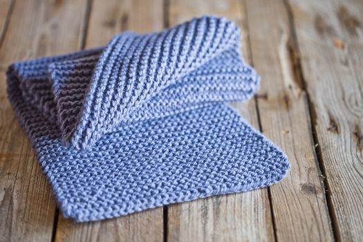 Blue knitted wooden scarf
