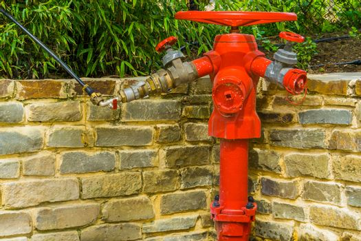 red fire hydrant with multiple hose fittings, fire prevention system, outdoor safety