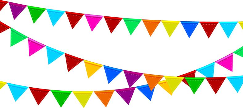 Garland of multicolored small flags for decoration. Colored checkboxes on white isolated. Background of colored flags.