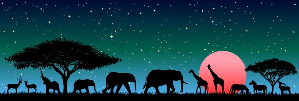 Silhouettes of wild animals of the African savanna. Wild african animals against the night sky.