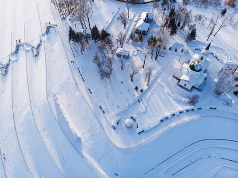 Aerial shot of main view to Barnaul city, Siberia, Russia. Winter sunny day in Barnaul, Russia