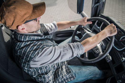 Young Semi Truck Driver