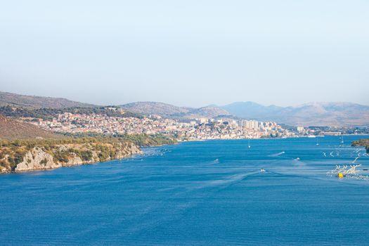 Sibenik, Croatia, Europe - View from the Sibenski Most Bridge towards Sibenik