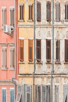 Rovinj, Istria, Croatia, Europe - Historic facades with wooden lattice windows
