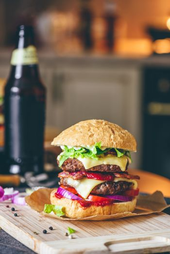 Cheeseburger with Bottle of Beer