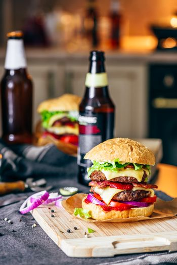 Cheeseburger with Beer and Some Ingredients.