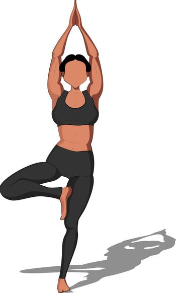 Vector yoga illustration. Healthy lifestyle with yoga pose. Yoga asana Vrikshasana Tree Pose .