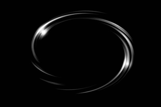 Glowing white circle with light ring on black backdrop, abstract background
