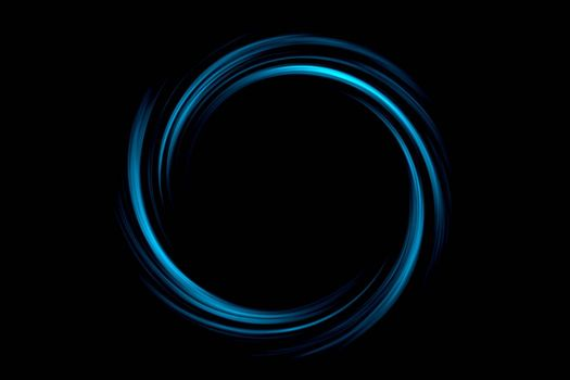 Abstract black hole with light blue circle on black background