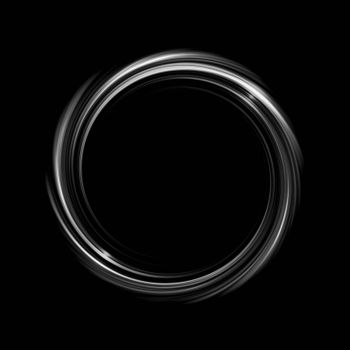 Glowing white spiral with light circle on black backdrop, abstract background