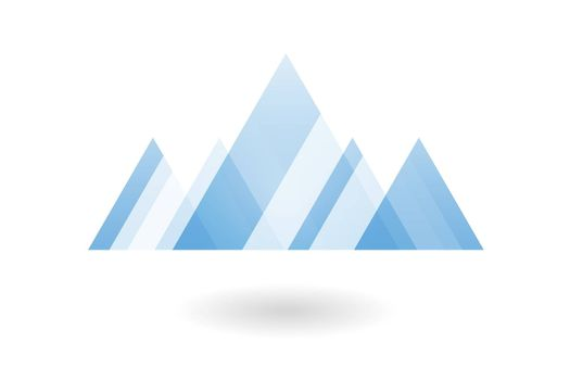 Abstract geometric pattern, blue overlapping triangle mountain logo