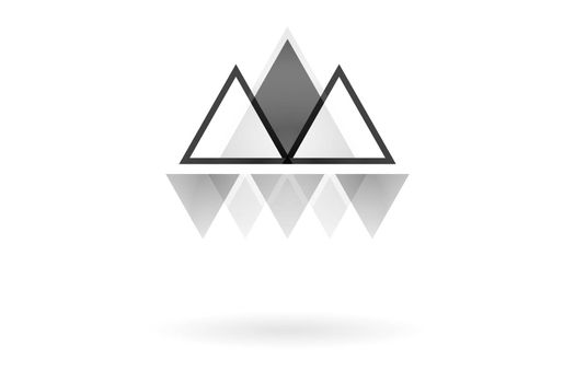 Abstract geometric pattern, monochrome overlapping triangle mountain logo