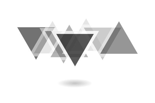 Abstract geometric pattern, black and white overlapping triangle logo