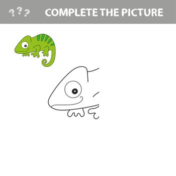 Iguana to be colored. Coloring book for children. Visual game.