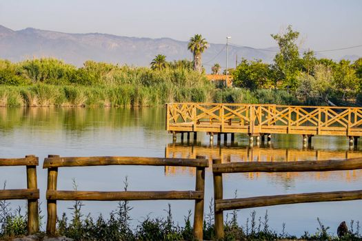 Jetty for bird watching in the natural landscape of Nules