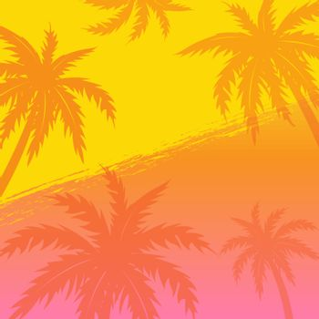 Summer Banner With Palm Trees