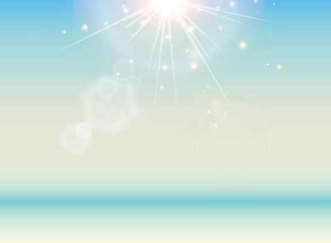 Beach with blue sea and sunlight landscape background. Relaxing summer outdoors vacation with heavenly mind. Resort deck touching sunshine. Vector illustration