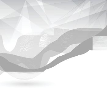 Abstract gray and white color low poly with lines waves pattern on white background. You can use for template brochure, poster. print, banner, annual report, cover, leaflet. Vector illustration