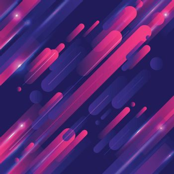 Abstract geometric rounded lines pattern motion with lighting glow technology colorful on dark blue background modern style. Vector illustration