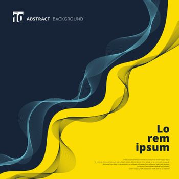 Abstract curve contrast yellow and blue background with dynamic lines wave pattern elements. Vector illustration