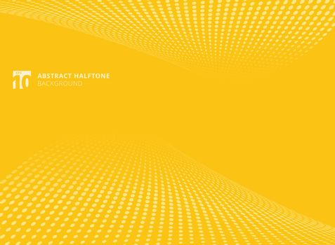 Abstract pattern dots yellow color halftone perspective background. Vector illustration