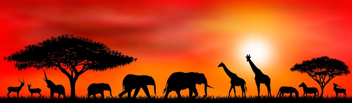 Silhouettes of wild animals of the African savannah. African landscape with animals and trees at sunset.