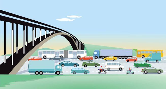 Expressways with bridge and road traffic