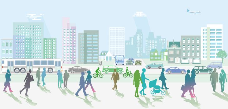City with People and pedestrians