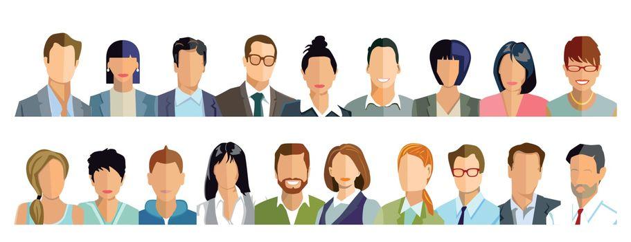 Persons portrait, faces illustration