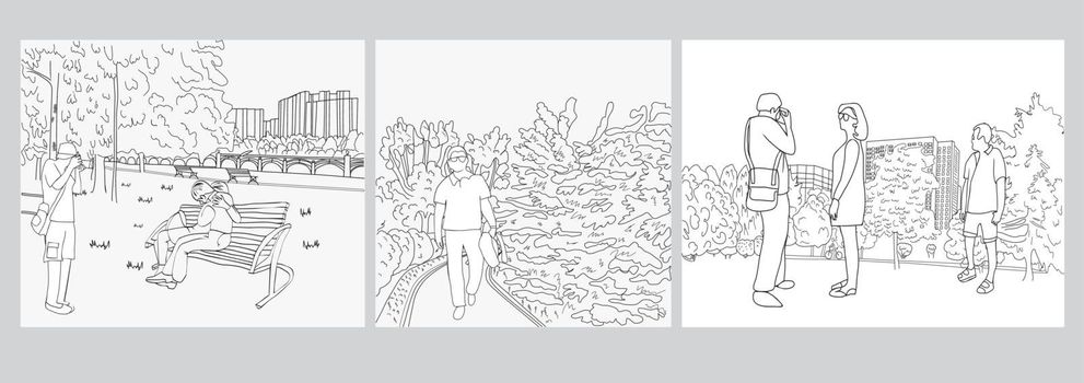 hand drawn set of graphic black white landscape sketch by line art illustration city Park and people walking and Taking Pictures  in the park outdoors.