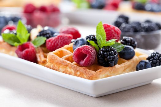 Waffles With Organic Fruits